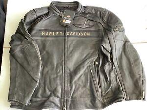 Harley Davidson Men's Spencer B&S Distressed Black Leather Jacket 97183 3XL