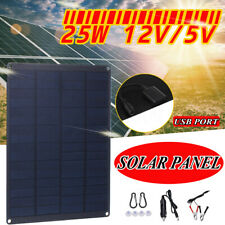 25W 12V Monocrystalline Solar Panel Battery Charger RV Motorhome Boat Traveling