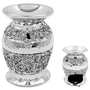 Silver Millie Diamante Wax Melt Melter Oil Burner Tealight Holder 12cm