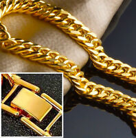 18k Yellow Gold Mens Wide 12mm Cuban Curb Link Chain Bracelet w Gift Pkg D9747