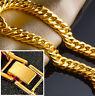 18k Yellow Gold Mens Wide 12mm Cuban Curb Link Chain Bracelet w Gift Pkg D9747