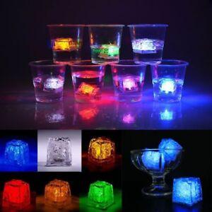 12 LED Ice Cubes Light Up Drinking Wedding Bar Party Decoration Flashing Light