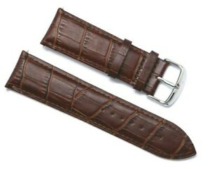 24mm Brown Crocodile Grain Leather Brown Stitching Replacement Watch Strap Band