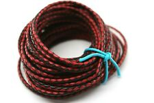 10 yards 30 feet 3Mm Black and Red Braided Bolo Leather Lace Cord Roll Spool