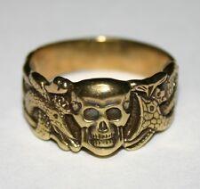 Solid Bronze Skull Snake Oak Leaves German Biker Ring sizes 9,10,11