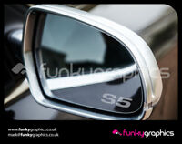 AUDI S5 SMALL LOGO MIRROR DECALS STICKERS GRAPHICS x3 IN SILVER ETCH