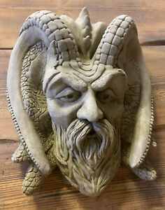 STONE GARDEN EXTRA LARGE GREEN MAN WIZARD WALL PLAQUE TREE MAN HANGING ORNAMENT