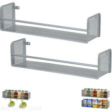 2 Pack Wall Mount Spice Rack Holder Kitchen Hang Hook Organizer Home Storage