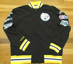 MITCHELL & NESS NFL PITTSBURGH STEELERS SUPER BOWLS WARM UP JACKET SIZE L