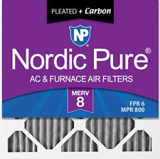 Nordic Pure 20x20x1 MERV 8 Pure Carbon Pleated Odor Reduction AC Furnace Air Filters 2 Pack