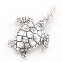 SEA TURTLE Charm Animal ocean Sea Hawaii Pendant 925 STERLING SILVER 3D .925