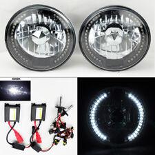 "7"" Round 6K HID Xenon H4 Black Chrome LED DRL Glass Headlight Conversion Plym"