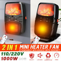 1000W Mini Electric Heater Fan PTC Heating Fireplace Flame Timer Portable