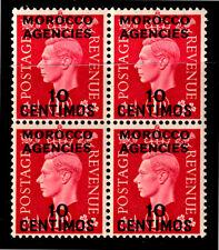 "UK 1937 KGVI 1d Carmine Opt ""MOROCCO AGENCIES"" In Black - Block Of Four - MUH"