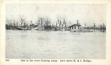 1937 Out In The River Floating Away, New Albany Flood, Indiana Postcard