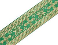 "3 Yards Religious Vestment Trim Green Gold Metallic Jacquard Christian 2"" Wide"