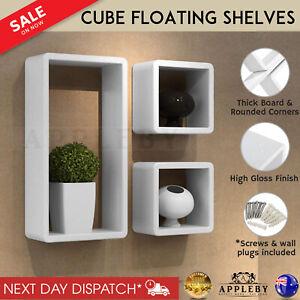 Floating Wall Mount Cube Bookcase Storage Shop Ornaments Display Shelf 3 Pcs