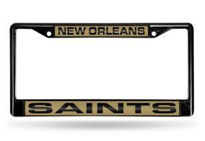 New Orleans Saints Black Metal Laser Cut License Plate Frame