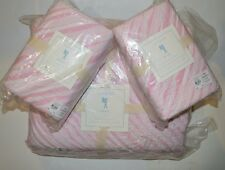 POTTERY BARN BAILEY QUILT FULL QUEEN 2 EURO SHAMS PINK RUFFLE #439