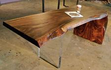 Reclaimed monkeypod desk, lucite leg, live edge, raw edge