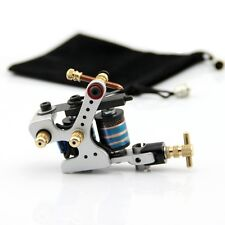 Tattoo Coil Machine Zinc Alloy 10 Wrap Coils Tattoo Machines Liner Shader Silver