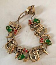 Vintage Golfing Charm Bracelet Enamel Gold Tone Brass Slider Golf Clubs & Bag