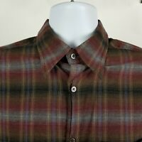 Zanella Italy Mens Brown Red Multi Color Dress Button Shirt Sz Large L