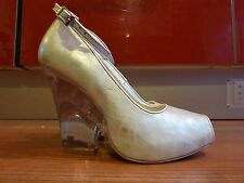 New Silver Peep Toe Wedge Platforms With Clear Heels Size 6/39