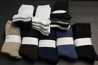 4 Pairs Women's Causal Dress Crew Socks 9-11 Solid Blue Brown Tan White Blacks