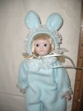 """Porcelain Bunny Doll Girl Blue Soft Bunny Costume 8"""" Long~Melts Your Heart~Cute"""