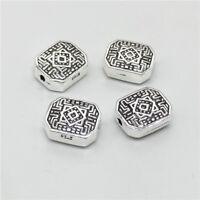 4pcs of 925 Sterling Silver Rectangle Maze Beads For Bracelet Necklace