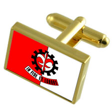 Para De Minas City Minas Gerais State Gold Flag Cufflinks Engraved Box