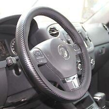 Black & Carbon Fiber Style PVC Leather Steering Wheel Wrap+Thread 47026d Size M