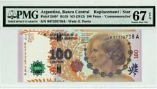 2012 ARGENTINA 100 PESOS COMMEMORATIVE PMG67 EPQ GEM UNC 'Replacement' <P-358b*>