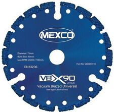 "Mexco VBX90 75mm / 3"" Universal Diamond Blade Wood Metal Plastic GRP 10mm Bore"