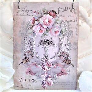 Wandbild Bild Tür Wand Anhänger Holz Deko Muttertag Shabby Rosen Blumen Engel