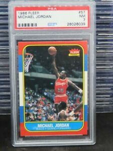 1986-87 Fleer Michael Jordan Rookie Card RC #57 PSA 7 Near Mint Bulls E46