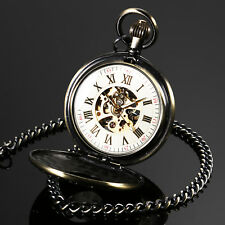 Skeleton Mechancial Pocket Watch Chain Bronze Case Silver Dial Roman Numberals