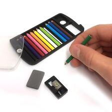 12 Mini Coloured Pencils in a Set, Japanese Credit Card Size Plastic Case Eraser