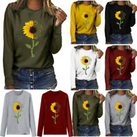 Women Stylish Sunflower Printed O-Neck Long Sleeve Pullover Blouse T-shirt Tops
