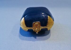 Mike and Ally Blue Enamel and Gold Metal Trinket Box. Signed