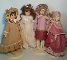 ANTIQUE German BISQUE HEAD Doll Lot Of 4 LOVELY CLOTHES, ARMAND, MINERUA, PANSY