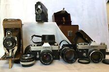Lot of vintage cameras: Ansco Royal No.1, Cine-Kodak 16 movie, 2 Canon Slrs plus