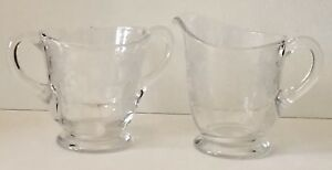 Vintage Clear Depression Glass Creamer and Sugar Set Foral Lace Etched Pattern