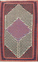 One-of-a-Kind Hand-Knotted Geometric 4x6 Wool Kilim Senneh Oriental Area Rug