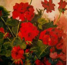 Fine Art Original Artist Signed Red Geraniums Floral Painting on Canvas