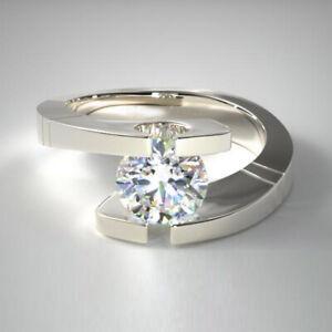 1.00 Karat Rundschliff Diamant Verlobung Ringe Solid 14K Weißgold Größe M N O P