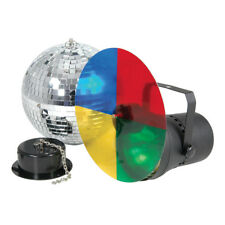 QTX 20 cm Luce da Discoteca Mirrorball Set Inc MIRROR BALL, PINSPOT e motore