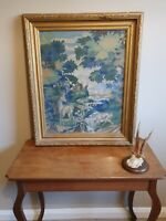 Antique large Stag Wool Tapestry  Gilded Gesso Framed