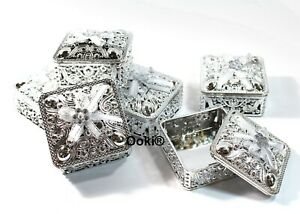 12 Silver Trinket Square Party Favors Gift Wedding Jewelry Keepsake Container